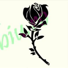 Trandafir_Tatuaje Perete_Sticker Decor_ Cod: WALL-737-Dim: 20 cm. x 9.8 cm.