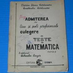 CULEGERE MATEMATICA - ADMITEREA IN LICEE SI SCOLI PROFESIONALE - CARBUNARU - Teste admitere liceu