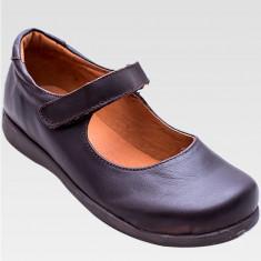 Pantofi din piele naturala -pentru fete -culoare neagra-marimi 34 - Pantofi copii