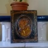 ICOANA RUSEASCA PE TABLA DIN CUPRU POSTATA PE CARTON PORTRET ISUS CRISTOS