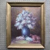 1953 Vaza cu liliac, tablou in miniatura pictat in ulei, pictura veche, Portrete, Impresionism
