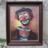Tablou, Portrete, Ulei, Impresionism - Portret de clown, clovn, arlechin, pictura pe panza