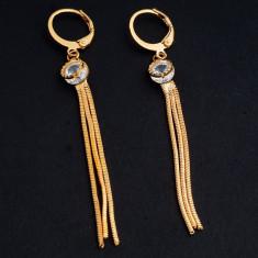 Cercei placati cu aur - Superbi cercei 9k GOLD FILLED - lungi cu CZ