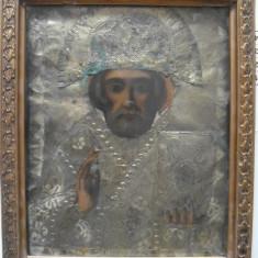 Icoana veche lemn Sfantul Nicolae pictura partiala riza metalica, circa 1850 - Icoana din metal
