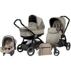Carucior 3 in 1 Book Plus Black POP-UP Cream - Carucior copii 2 in 1 Peg Perego