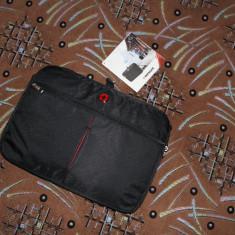 Geanta Laptop Slim marca WENGER Swiss Originala 100% (Calitate-Premium NOU), Diplomat, 15 inch, Panza, Negru
