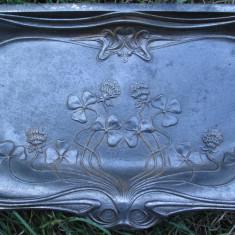 Metal/Fonta - Cenusar vechi de fonta pentru soba, tava jar, piesa antica Art Nouveau