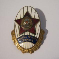 Insigna Comunista Absolvent Academia Militara Tehnica RPR. Varianta fara serie