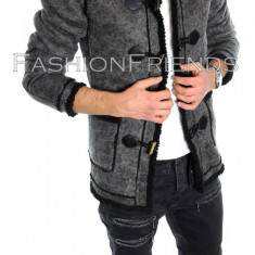 Palton tip ZARA gri - palton barbati - palton slim fit - cod 5747