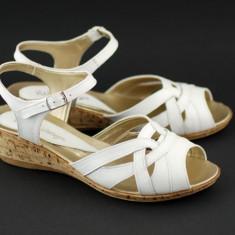 Sandale dama din piele naturala Alb - Made in Romania