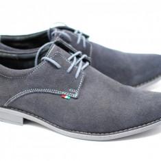 Pantofi barbati - Pantofi gri casual barbatesti din piele intoarsa cu siret - Made in Romania