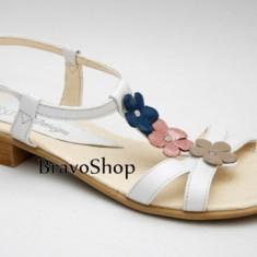 Sandale dama din piele naturala (Albe cu floricele) - Made in Romania