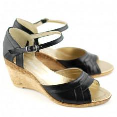Sandale dama cu platforma din piele naturala Negru - Made in Romania