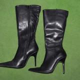 Cizme dama, Piele naturala - Cizme de dame, din piele neagra, marimea 35, toc cui de 10cm, cu fermoar