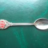 Lingurita placata cu argint, decorata cu medalion de portelan - Dubrovnick., Ornamentale