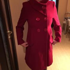 Palton dama stofa, pt iarna, 3/4, Marime: 42, Culoare: Rosu