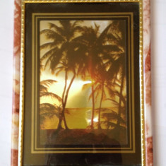 Tablou peisal tropical efect 3d. dimensiuni 20cm/15 cm