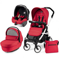Carucior 3 in 1 Book Plus 51 Black White Sportivo SL Red - Carucior copii 2 in 1 Peg Perego