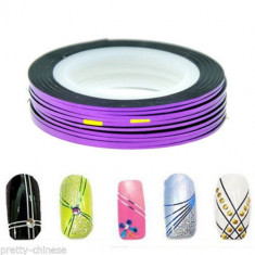 Unghii modele - Banda decorativa pentru modele unghii de culoare mov, benzi decorative