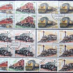 CUBA 1975 - LOCOMOTIVE CLASICE, 5 x 5 VALORI, OBLITERATE - EO 033