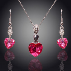 Set Swarovski - Set de bijuterii superb placat Aur 18k, Cristale Swarovski : colier, cercei-ideal cadou cod 251