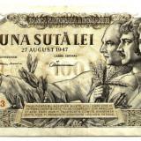 ROMANIA 100 LEI 27 AUGUST 1947 AUNC