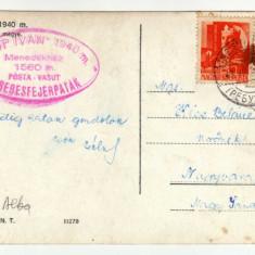 VARFUL POP IVAN 1940M, MARAMURES, STAMPILA SPECIALA DE POSTA -TREN, CABANA DIN TRIBUSA ALBA 1560M -MENEDEKHAZ 1560M, POSTA-VASUT TEREBESFEJERPATAK - Carte Postala Transilvania dupa 1918, Circulata, Fotografie