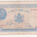BANCNOTA ROMANIA - 5.000 LEI 1944 (22 AUGUST 1944), RARA, EROARE - FILIGRAN TRAIAN DEPLASAT - SE VINDE LA PRET FINAL