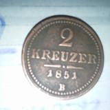 2 KREUZER 1851 B - Moneda Medievala