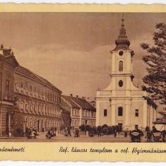 Carte postala biserica si gimnaziul reformat SATU MARE -SZATMARNEMETI circulata in 1943, animata carute in centru