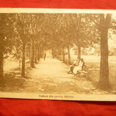 Carte Postala, Circulata - Ilustrata - Vedere din Parcul Salistei- Sibiu- 2 femei in costume populare, pe banca, circ. 1925