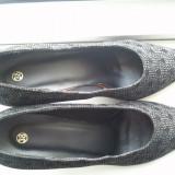 Pantofi eleganti negri dama toc - Pantofi dama ASH, Marime: 38, Culoare: Negru, Piele naturala
