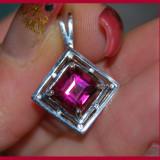 colier, lant cu pandantiv argint 925 placat cu aur alb cu piatra superba roz ciclam de Flamingo TOPAZ!!anturaj safire naturale!