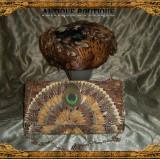 Palarie Dama - Set toca si plic vintage stil Belle Epoque din pene naturale