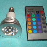 Bec disco cu schimb de culori si efecte speciale telecomandat cu dulie mica