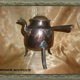 Ceainic viking cupru cu fier forjat, peste 200 ani - Metal/Fonta, Vase