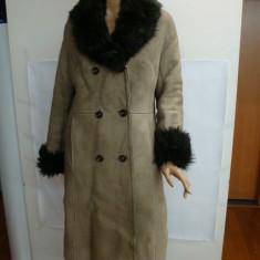 Cojoc dama, piele/blana naturala, marimea M-L (44), kaki deschis spre bej - Palton dama