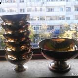Set de colectie sase cupe de inghetata placate cu argint (Silver Plated) si o cupa mai mare de spalat mainile placata cu argint gratis, Vas