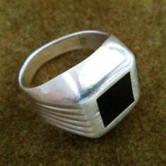 Inel barbatesc argint 925 cu piatra topaz negru - Inel barbati