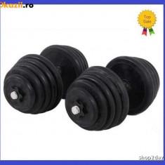 Gantere/Haltere - Set Gantere cu Discuri Cauciucate Reglabile 2x10KG/Brat 20KG 2x10 kg 20 kg