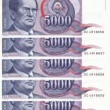 Bancnota Straine, Europa, An: 1985 - IUGOSLAVIA lot 5 buc. X 5.000 dinara 1985 UNC!!!