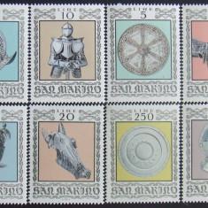 SAN MARINO - SCUTURI SI ARMURI 8 VALORI, NEOBLITERATE - SM 023