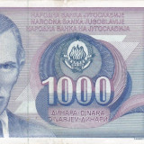 Bancnota Straine, Europa, An: 1991 - IUGOSLAVIA 1.000 dinara 1991 VF+++!!!