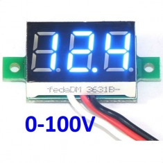 Indicator - Voltmetru digital 0-100 V - DC, auto alimentat, LED Albastru / Blue