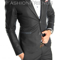 Sacou tip Zara Man negru casial office - sacou barbati - sacou bumbac cod 4722