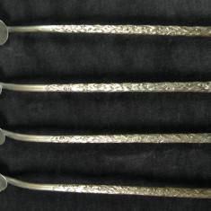 Metal/Fonta, Altul - 4 LINGURITE PENTRU ABSINT SAU CEAI - ALPACA - COADA LUNGA GAURITA - 20 CM