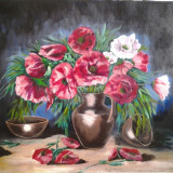 Maci, N. Chilom - Pictor roman, Flori, Ulei, Realism