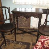 Mobila veche; masa + 2 scaune + Cuier(COLECTIE) - Mobilier, Mese si seturi de masa, 1800 - 1899