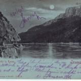 Romania, Orsova, carte postala circulata 1901: Cazane noaptea
