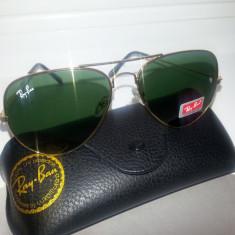Ochelari de soare Ray Ban, Unisex, Metal, Protectie UV 100% - Ochelari Ray Ban Aviator cu serie + toc + laveta